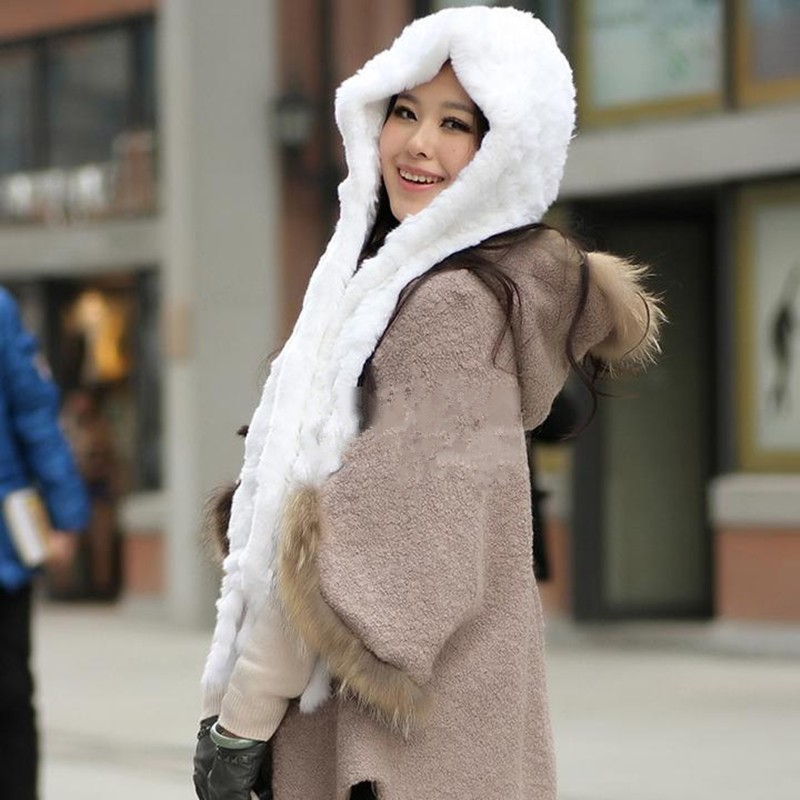 Warm Winter Scarf Women Knit Wool Real Rabbit Fur Scarf Lady Casual Scarves hats Wraps Accessories