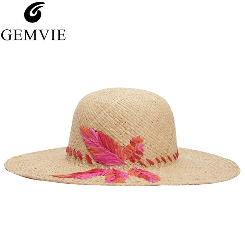 92fa61ae1ad 2018 New Design Embroidery Leaf Summer Hats For Women Raffia Straw Hat Large  Brim Fashion Lady s Beach Sun Caps Panama Hat