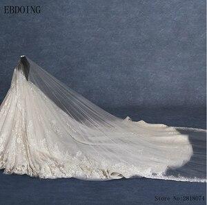 Image 4 - Real Photo Vestidos De Novia ชุดบอลชุดแต่งงาน Scoop คอแขนยาว Royal Train Plus ขนาดเจ้าสาวลูกไม้เจ้าสาว Gowns