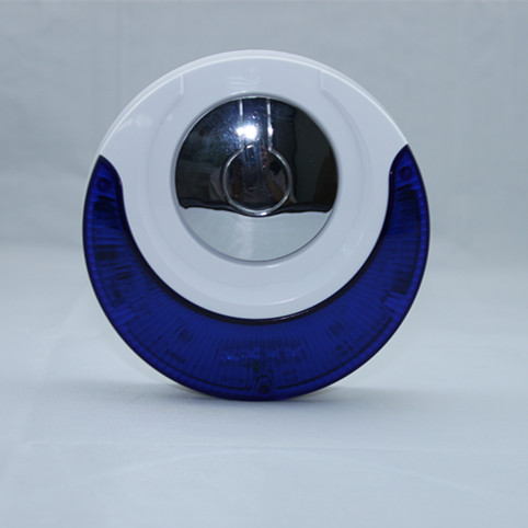 ФОТО MD-314R 433MHz Wireless Indoor Siren Blue and White Round Flash Horn Operated by Rechargeable Battery or 12V/1A