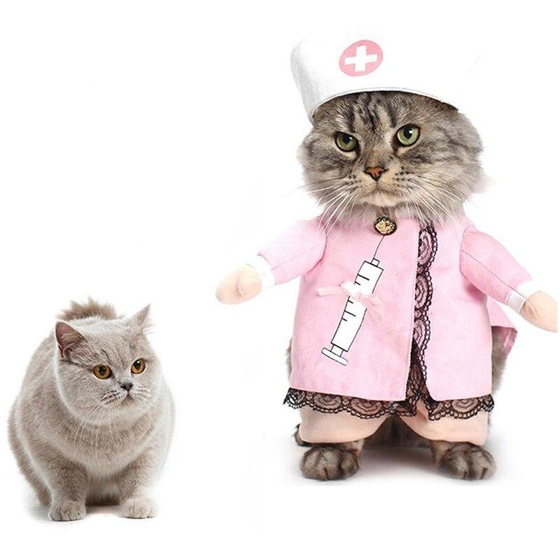 Pet Cat Cute Costume Clothes For Cat Funny Costume Nurse Suit Outfit Cat Clothes Dress Apparel Pet Clothes Cotton Apparel