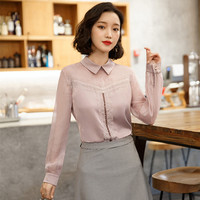 Spring new high end Korean version of the doll collar lace air quality OL professional female chiffon shirt long sleeved blouse