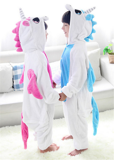 b1111b53a1 Cute Pink Blue Unicorn Cartoon theme Unisex Animal Pajamas Christmas New  Year gift Children kids onesies pyjamas