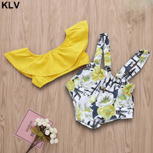 2PCS Infant Baby Girls Summer Outfits Off Shoulder Crop Tops + Floral Print Strap Shorts Pants недорого