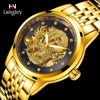 LANGLEY New Men S Skeleton Automatic Mechanical Watches Stainless Steel Genuine Leather Top Luxury Brand Male