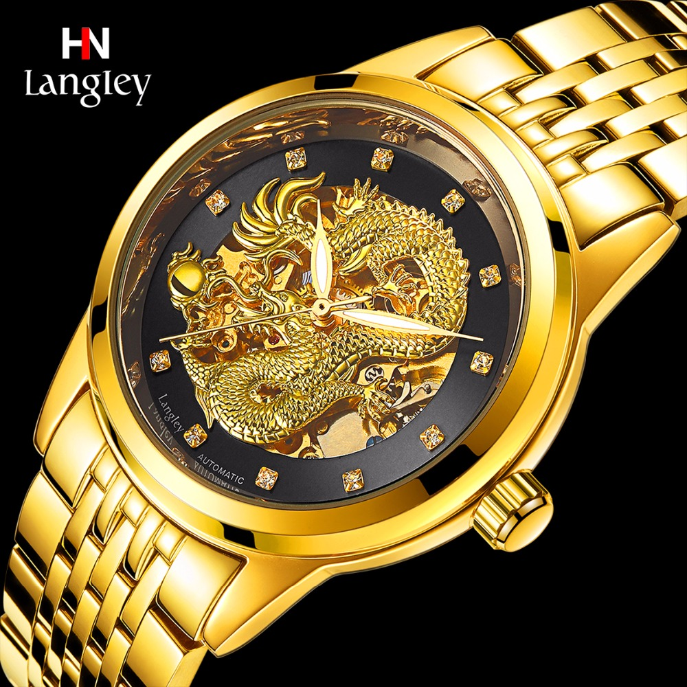 LANGLEY New Men's Skeleton Automatic Mechanical Watches Stainless Steel Genuine Leather Top Luxury Brand Male Dragon Wristwatch langley new modern dragon watches men automatic mechanical watch male skeleton golden wristwatch luxury brand stainless steel