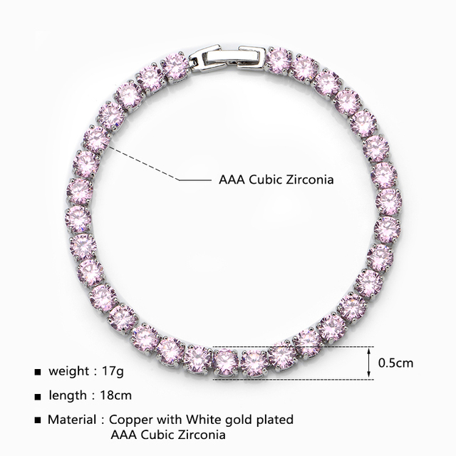 J Full Pink Cubic Zirconia Bracelets For Women Copper With Link Chained Luxury Jewelry Bracelet