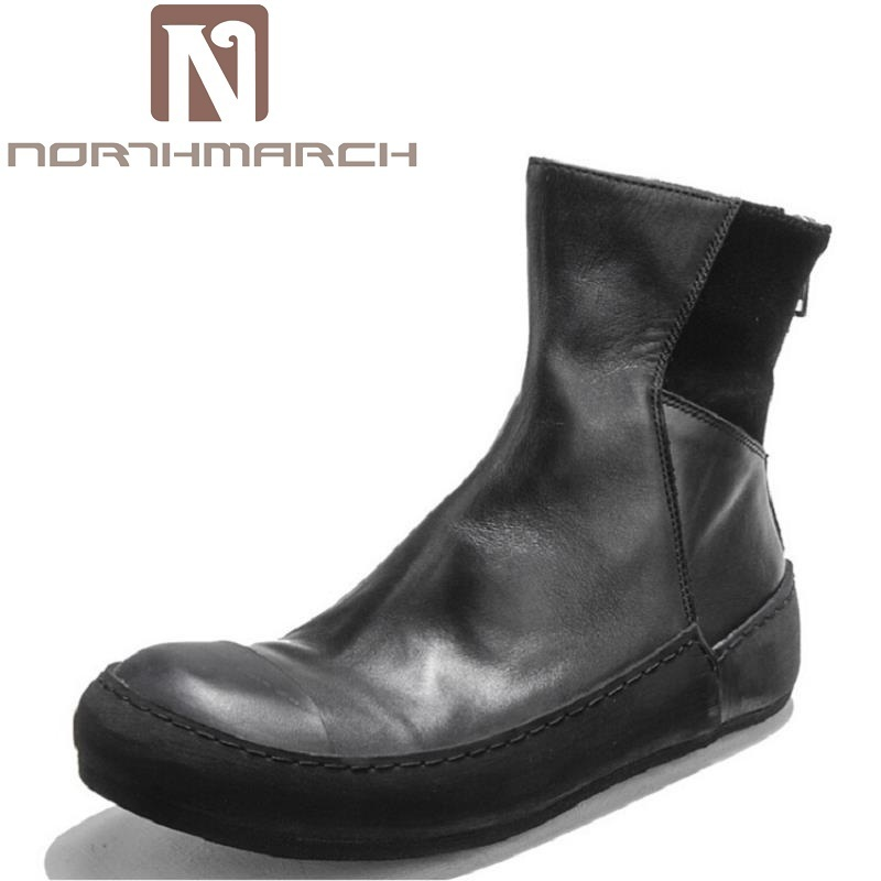 NORTHMARCH Winter Mens Martin Boots Luxury Brand Leather Zipper Casual Shoes Handmade Thick Bottom Ankle Boots For Botte Homme pws5610t s 5 7 inch hitech hmi touch screen panel human machine interface new 100% have in stock