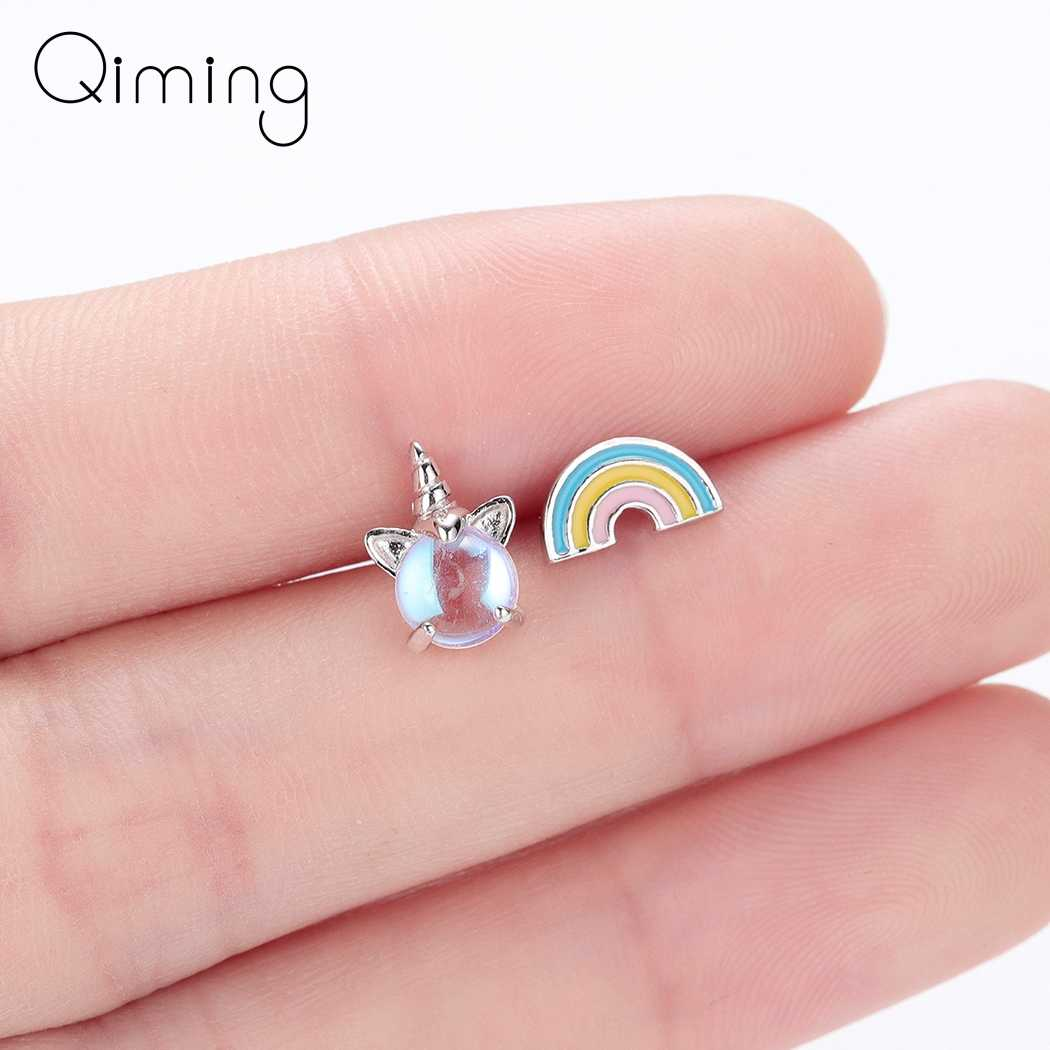 Unicorn Rainbow Stud Baby Earrings Kids Children Jewelry Asymmetry Silver Stone Animal Fashion Cute Earrings Women Gift