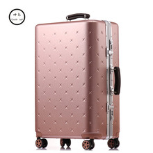 KUNDUI 20″26″29 Inch Men Luggage Sets Bag Trolley suitcase/rolling spinner wheels Pull Rod/woman Aluminum frame traveller case 4