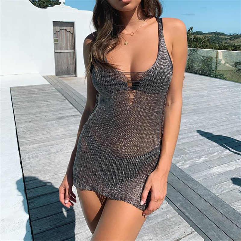 Mulher sexy bikini praia cover-up maiô cobre maiô verão beach wear tricô roupa de praia malha vestido de praia túnica robe