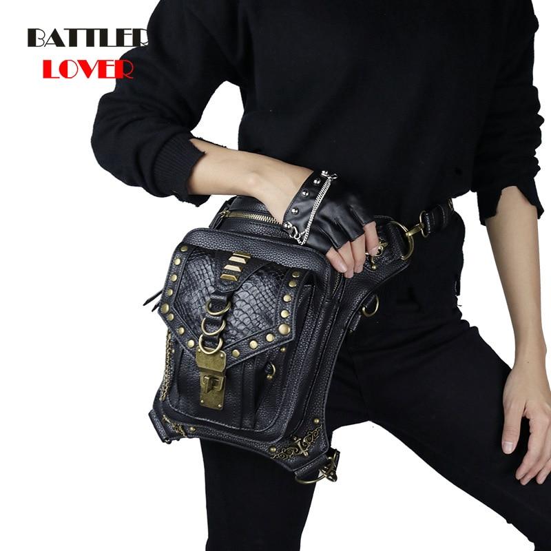 Fashion Steampunk Skull Gothic Waist Leg bag Retro Pu Leather Rivet Messenger Bag Personalized Phone Purse Men & Women Waist Bag