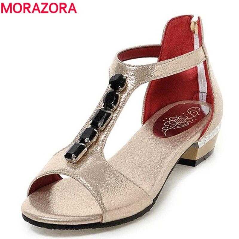 ФОТО MORAZORA Hot sale 5 colors women sandals peep toe T strap rhinestone ladies flat sandals ladies dress shoes woman