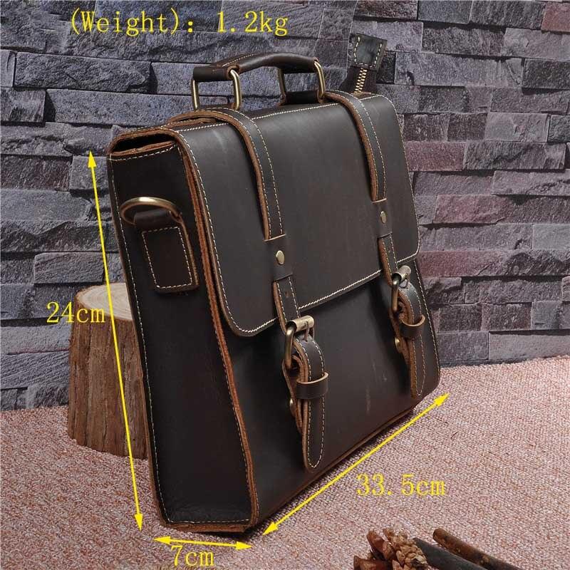 Винтажные мужские портфели из натуральной кожи, сумка через плечо из коровьей кожи, деловая сумка, чемодан, мужская сумка для ноутбука, портфель для женщин - 2
