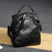 Fashion Simple and casual retro style Genuine leather backpack women luxury brand multi-functional stitching leather travel bag zency women natural leather backpack hot style schoolbags simple casual multi use travel knapsack female fashion grey travel bag