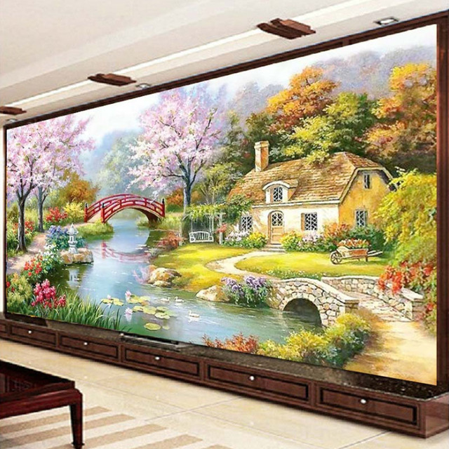 Japanese Garden Scenery DIY Precise Printed Full Cross Stitch Embroidery  Kit Needlework Handmade Counted Craft Gift