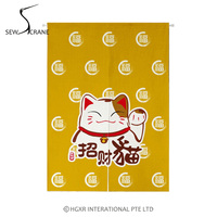 SewCrane Lucky Cat Feng Shui Cat Home Restaurant Door Curtain Noren Doorway Room Divider