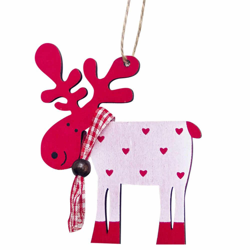 1 قطعة خشبية رسمت الأيائل شجرة عيد الميلاد تزيين مُثبت عيد الميلاد قطرة زينة عيد الميلاد للمنزل الاطفال هدية 9 سنتيمتر x 10 سنتيمتر 0.429