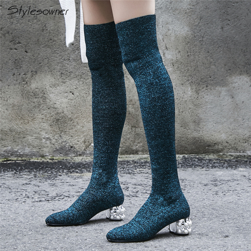 Stylesowner Brand Bling Shoes Women Over The Knee Thigh High Boots Pearl Thick High Heel Socks Boots Lady Knitting Stretch Boots