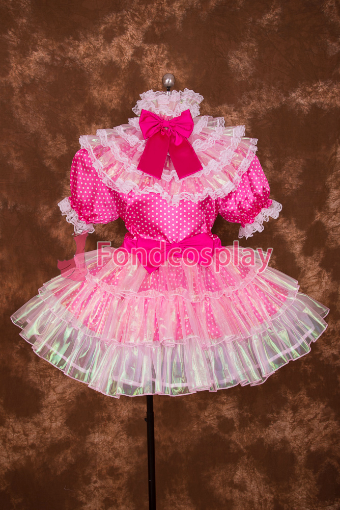 Sexy Lockable Hot Pink Circle Satin Colourful Lace Sissy Maid Short Dress Cosplay Uniform[S014]