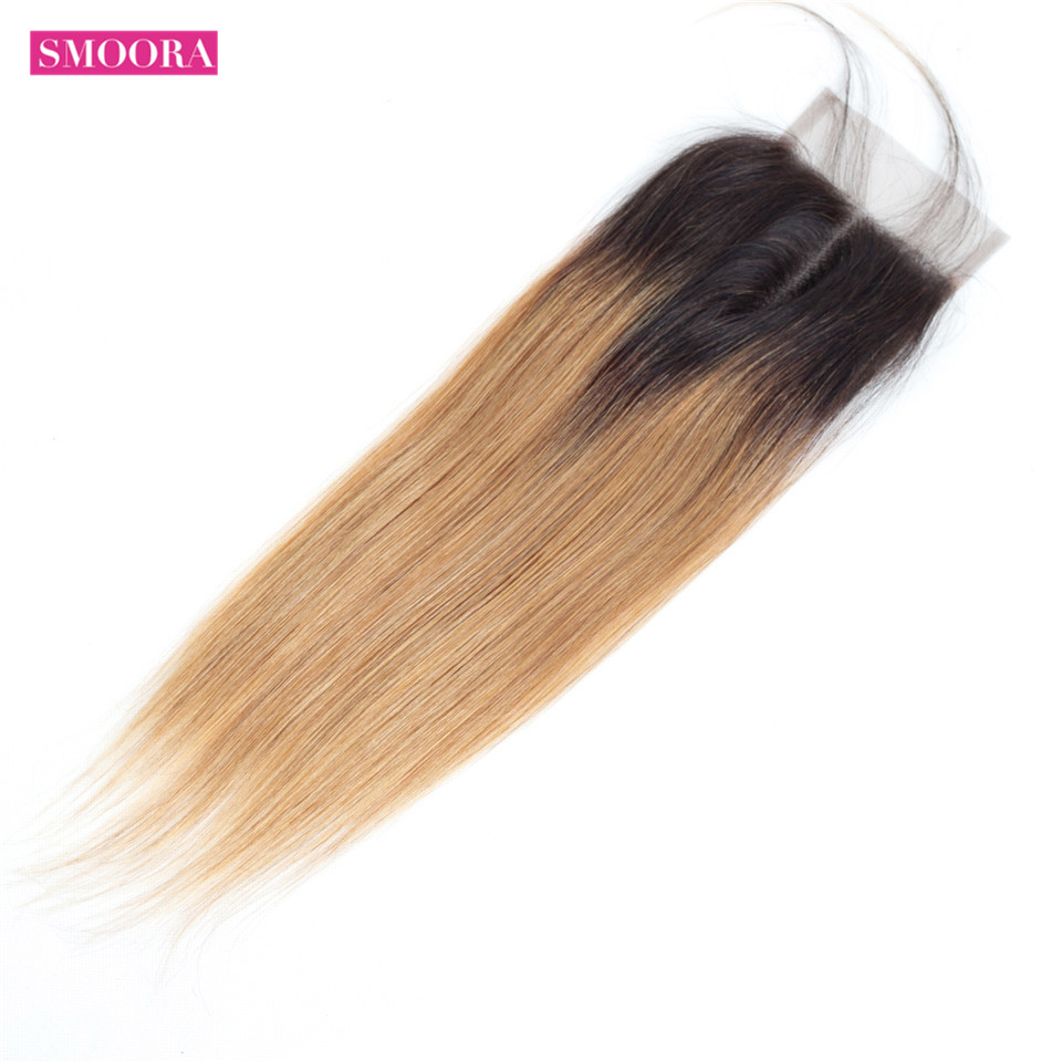 Smoora Hair Ombre  Straight 4 Bundles With Closure T1B/27 Ombre  Bundles With Closure Honey Blonde Non  5