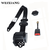 Universal Retractable 3 Pt Short Iron Rod Buckle Auto Car Safety Seat Lap Belt Set Assembly