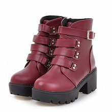 Women Thick Heel Ankle Boots Fashion Square Med Heel Buckle Belt Thick sole Platform Motorcycle Boots Hiking Bottine Women Shoes