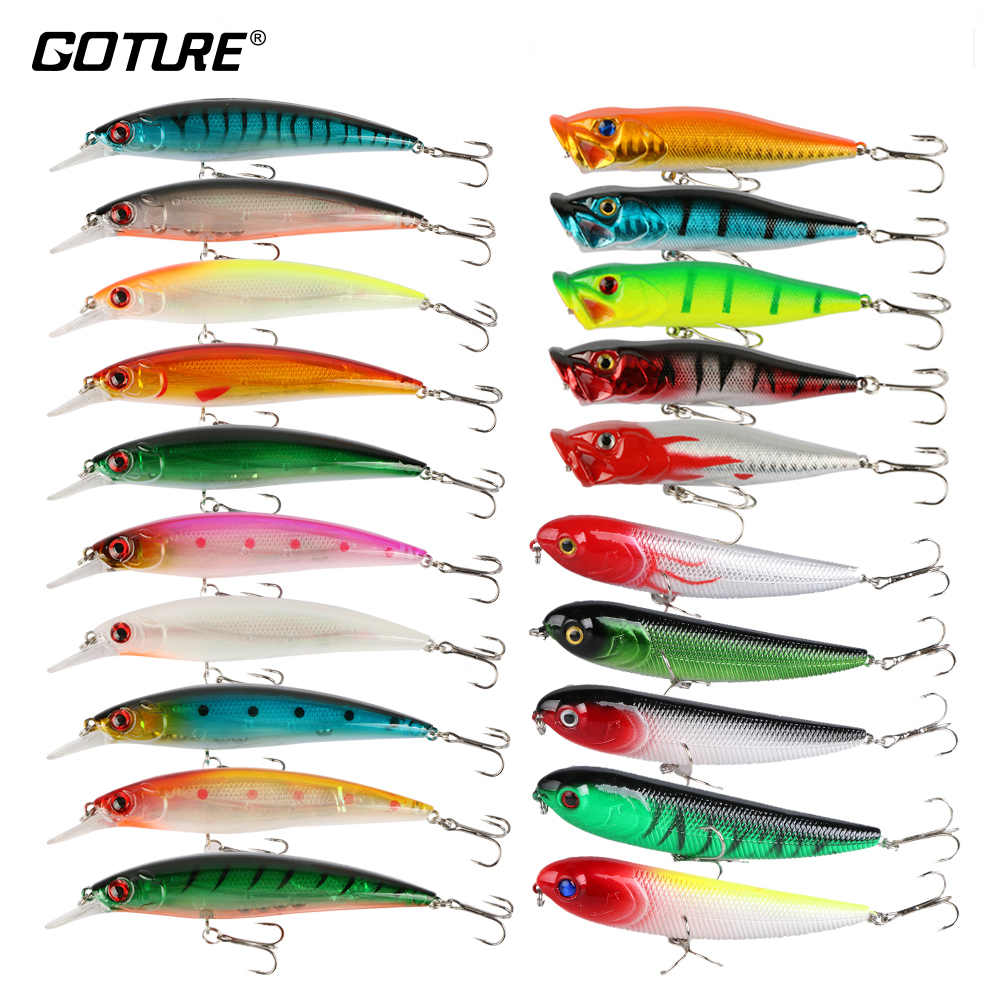Goture 20 Pieces/set Fishing Lure Set Mix Colors Pencil Minnow Popper Lure Bass/Pike Bait Sea/Lake Fishing Tackle 6 pieces set 12 colors royal sissi dura flashing tubing diameter 4mm tube minnow mylar pike saltwater fly fishing tying material