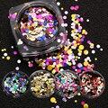 1 Box Смешанные Цвета 12 Конструкции Мини Круглый Nail Art Блеск Блестка Горячие Моды Сияющий Маникюр Блеск Блестки Для Ногтей Украшения