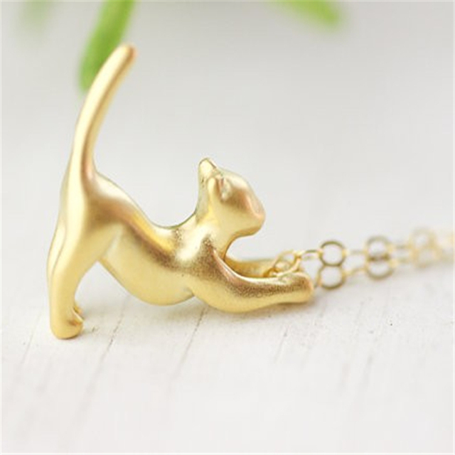 Women's Cat Shaped Silver Necklace