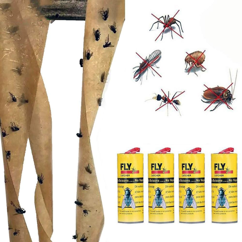 4pcs Sticky Ant Fly Repellent Paper Eliminate Flies Insect Bug Home Glue Flytrap Catcher Trap Fly Bug Mosquito Killer Buzz Trap