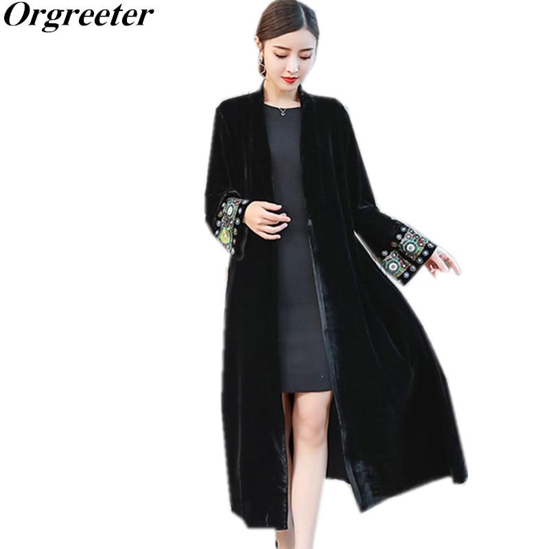 Stylish Sleeve exquisite Embroidery Vintage Velvet Kimono Trench New women V neck Mid Long Windbreaker Coat Outerwear velvet jacket women