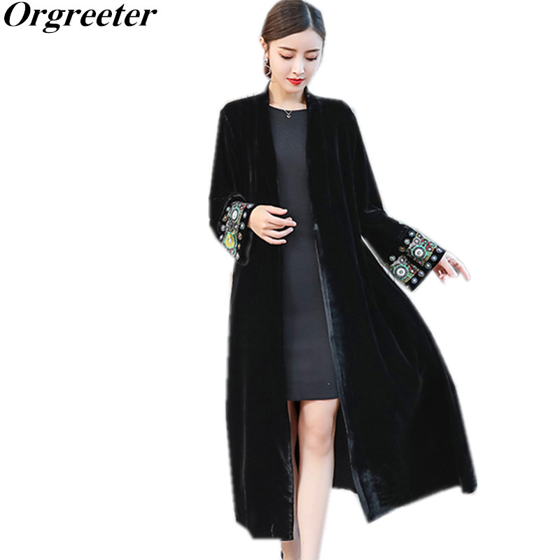 Stylish Sleeve exquisite Embroidery Vintage Velvet Kimono Trench New women V neck Mid Long Windbreaker Coat Outerwear