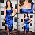 Ashleygreene Celebrity Dresses Royal Blue One Shoulder Ruffles Pleat Sleeveless Shinny Satin Tea-length Evening Dress