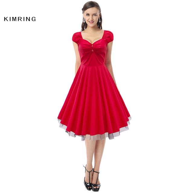 Kimring sommer vintage dress hepburn stil plus größe puffärmel 1950er 60er rockabilly cocktails retro swing dress für frauen