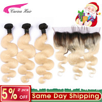 Platinum 613 Ombre Blonde Hair Wave Bundles with Ear to Ear Frontal Closure Brazilian Carina Remy Human Hair Extension Blonde