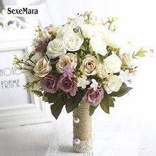 SexeMara Свадебный букет Европейский шезлонг розы, искусственные цветы, украшение дома, эмуляция, свадебный букет