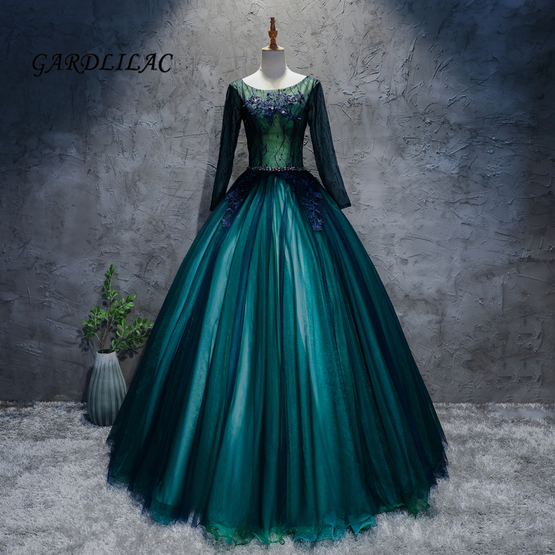 Long Sleeve Prom Dresses 2019: Hot Sale Greem Quinceanera Dresses 2019 Lace Long Sleeve