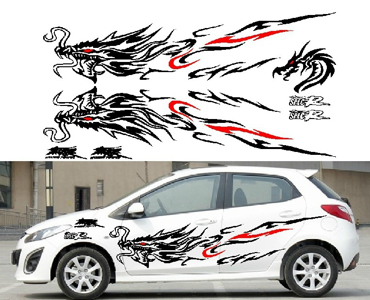 Left side car stickers chinese dragon character car whole body sticker garland racing sport decal docer waterproof mural vinyl in car stickers from