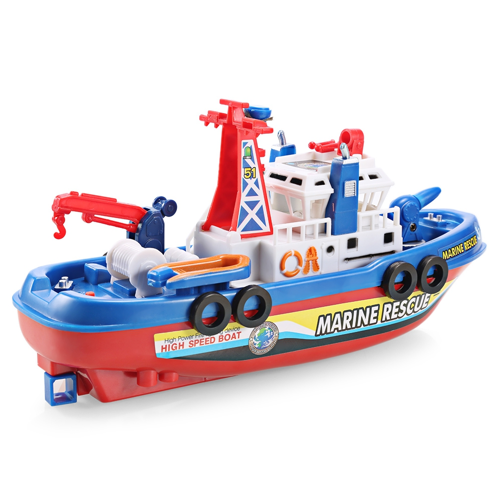 Outdoor Toys Music Light Electric Marine Rescue Fire Fighting Boat Toy Waterproof Mini Speed Boat Airship as gift for children (8)