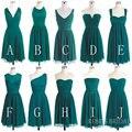 Incompatíveis Dama Veste Uma Linha de Chiffon Verde Hunter Curto Vestidos Dama de honra 2017 Barato Vestido de Festa de Casamento Vestido De Madrinha