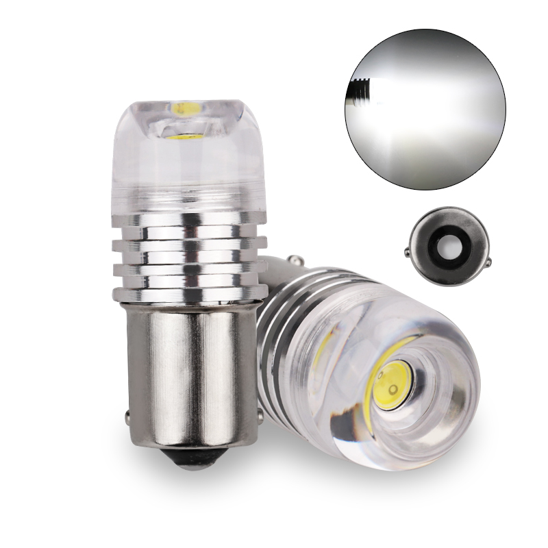 10pc 1156PY 7507 PY21W BAU15S 3W With Lens COB Concave Explosion Strobe Flashing Car Brake Turn Signal Lamp Bulb White Red Blue