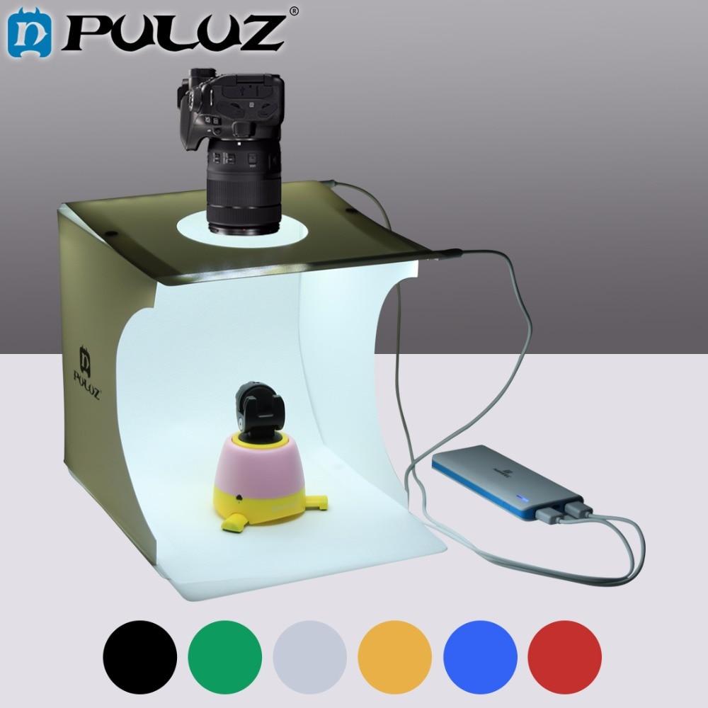 PULUZ 2LED Lightbox boîte à Lumière Mini Photo Studio Boîte 1100LM Photographie La Lumière Studio Tir Tente Boîte Kit avec 6 Couleur décors