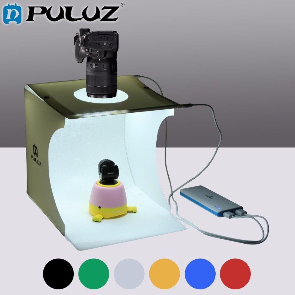 PULUZ 2caja de luz LED caja de luz Mini caja de estudio de fotos 1100LM Luz de estudio de fotografía juego de caja de estudio con 6 Fondos de Color