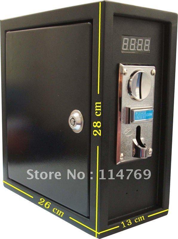 Caja de fuente de alimentación de control de temporizador que funciona con monedas para controlar el dispositivo electrónico de 220 V con placa frontal ZINC ALLOY
