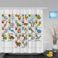 Cartoon Alphabet Letters Design Kids Shower Cutains Animals Decor Baby Bathroom Curtains Polyester Waterproof Fabric With