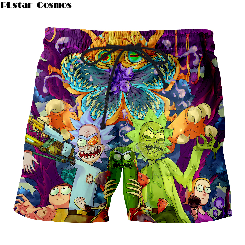 PLstar Cosmos Drop Shipping 2018 Summer Fashion Mens 3d Shorts Cartoon Rick And Morty Printing Male Female Casual Shorts