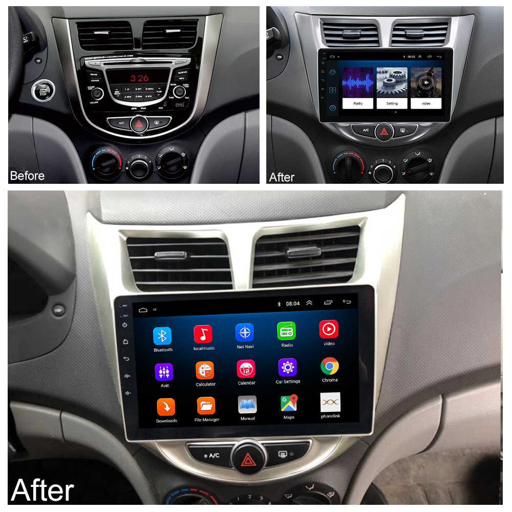Rádio do carro reprodutor de vídeo multimídia navegação gps carro android para hyundai solaris acento verna 2011 2012 2013 2014-2016