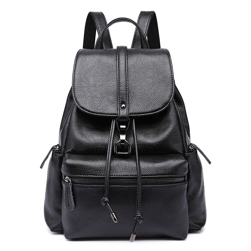 New Women Backpack Genuine Leather backpacks for women with zipper school bag for teenage girls travel backpack shoulder bag