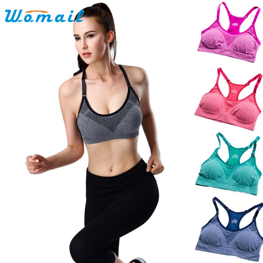 Womail 2017 Sexy Women Sport Bra Running Gym Yoga Fitness Padded Tank Tops Stretch Workout